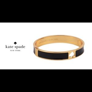 Kate Spade Hole Punch Spade Black and Gold Bangle
